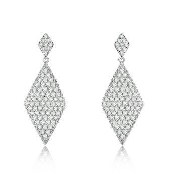 wholesale sterling silver earring diamond shape by Micro-pav
