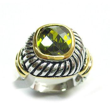 2016 Fashion Aqua cushion Cubic zirconia Ring with antique c