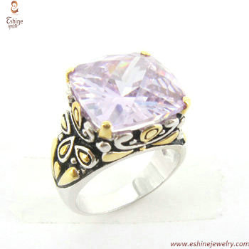 ST1238R - Bali style Antique flora designs brass finger ring