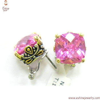 ST1238E - Pink Cubic Zironia back clip Earrings with balines