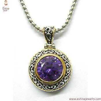 ST1328P - Sterling silver Amethyt CZ pendant with designer i