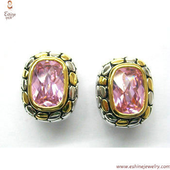 ST1329E - Brass bali cobble designs Garnet CZ earring with t