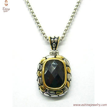 ST1329P - 925 silver antique cobble pendant with black cushi