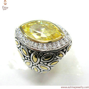 RI3371 - Export gold Marquise CZ ring made of brass & white