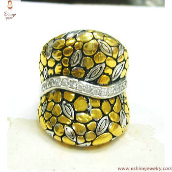 RI3279 - Classic bali cobble paved design silver ring with s