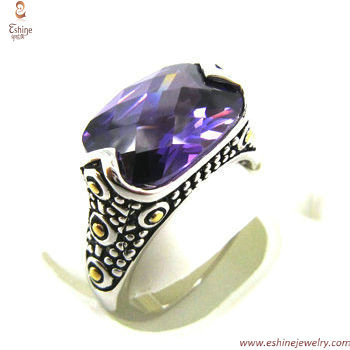 ST1237R - Bezel set cushion amethyst CZ ring made of brass &