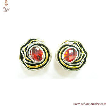 ST1421e - Vintage gold red rose oval garnet 925 silver earri