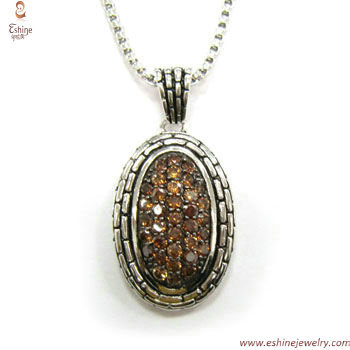 ST1431P - Brass coffee CZ micro paved pendant with designer