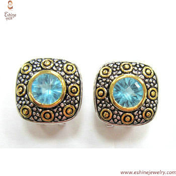ST1527E - Antique retro Cushion shape earring with round Ame