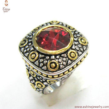 ST1527R - Brass desinger inspired ring with round garnet bez