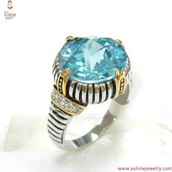 ST1362R - wholesale CZ ring with round cut Aqua & Antique re