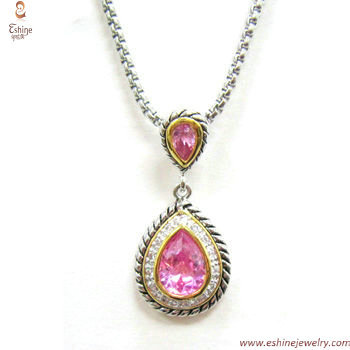 ST1528P - Rope style Pear cut pink CZ pendant for woman dail