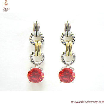 ST1690E - antique retro cable designs round garnet CZ claw s