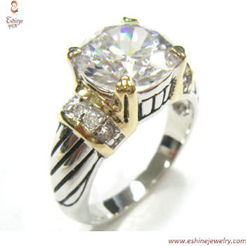 ST1690R - factory outlet Brass round peridot CZ figner ring