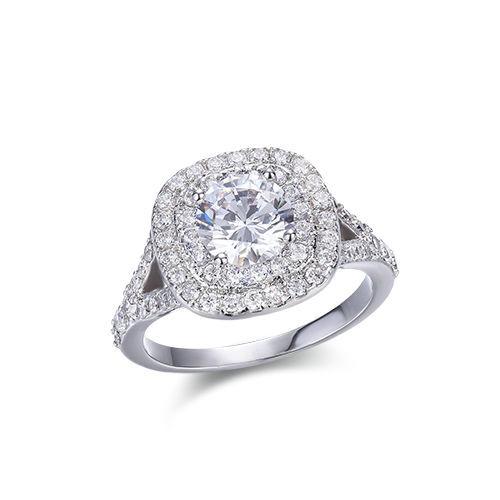ST2236R - Claw setting Round sapphire simulated silver weddi