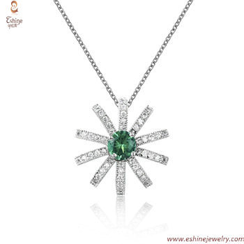 ST2181P - Emerald imitation birthstone brass necklace for bl