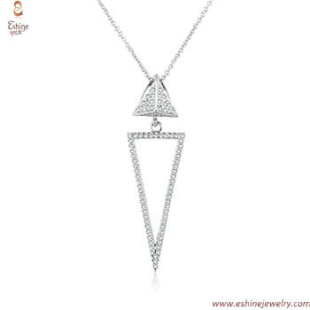 ST2186P - sterling silver Hollow dangling triangle wedding n