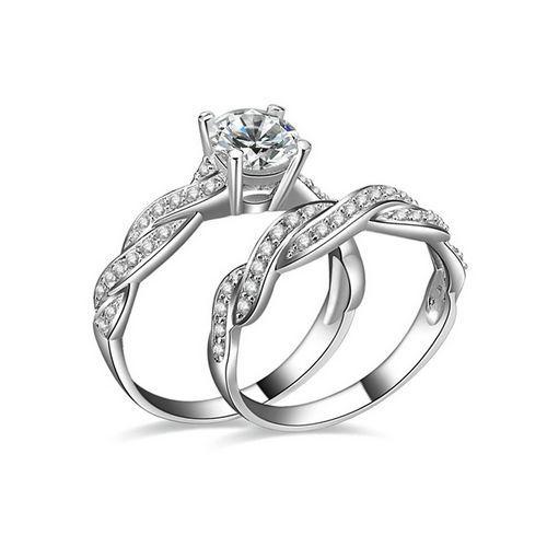 SE0015 - 2 intetrwine designs platimum tone sterling silver