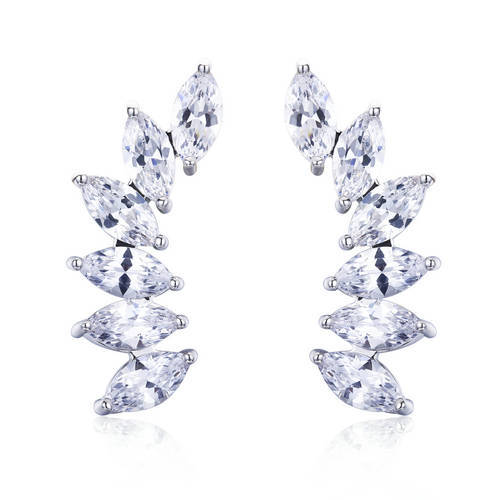 ER3436 - brass dangling salix leaf earring with diamond simu