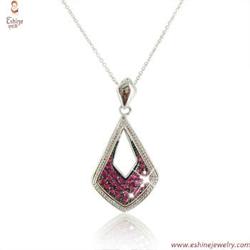 ST1806P - Sterling silver sapphire cz micropaved dangling pe