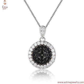 ST2210P - wholesale Black CZ micropaved & clear CZ suround b