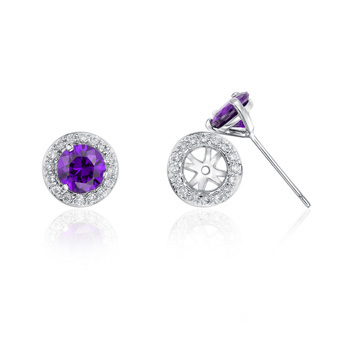 Stud earring - Sterling silver Amethyst Moveable earring wit