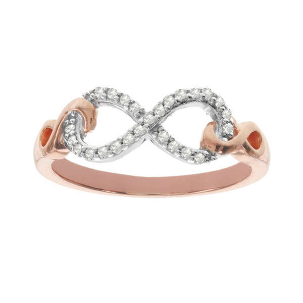 Infinite ring - Cubic zirconia rose gold, Sign of love & for