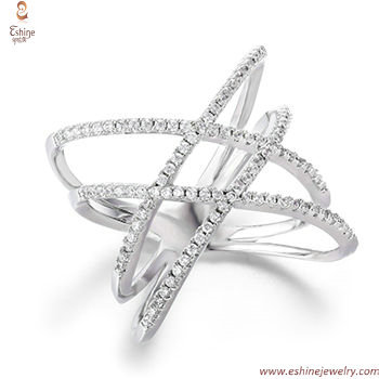 Micropave CZ Line rings - Classic diamond look with white rh