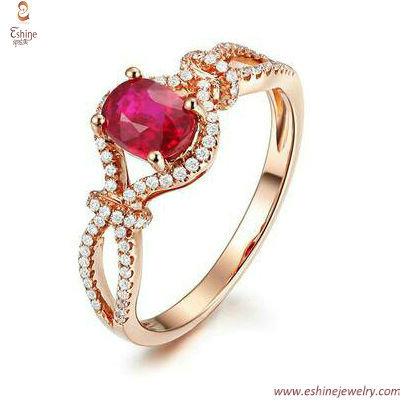 Engagement rings collections - Oval garnet CZ rose gold as w