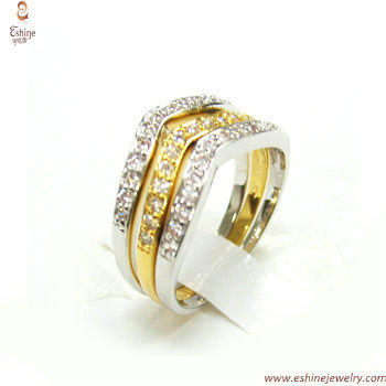 Two tones ring set - Elephant skin texture Cubic zirconia fi
