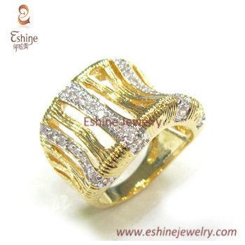 Two tones ring set - Elephant skin texture Cubic zirconia fi