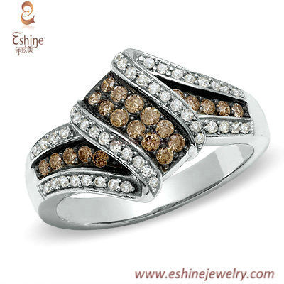 Crossover rings collection - chinese wholesale Colorful CZ w