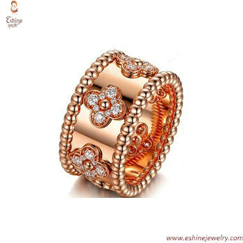 Rose gold rings collection - clear CZ micropaved for women w