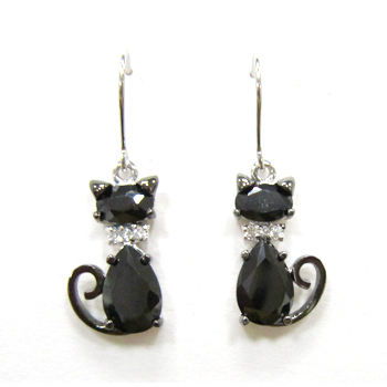 ST1510E - Black cat pet earring with fishhook style & 12 col
