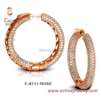 hoop earring collection - rose gold plating clear CZ micropa