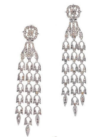 Dangling chandelier earring - clear CZ paved white rhodium p