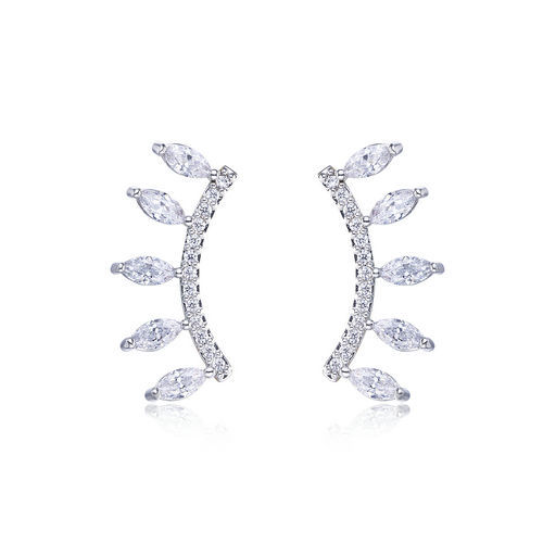 Leaf Earring - Diamond immitation Cubic zirconia setting wit