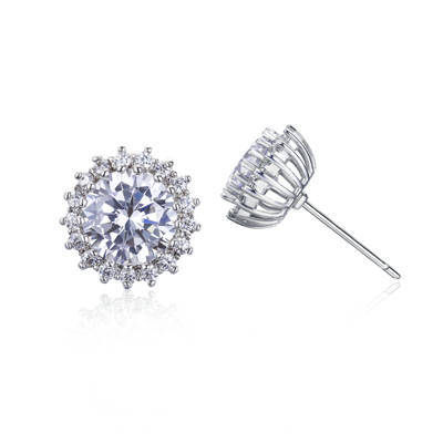 Stud earing ER3264 - Round carat diamond hand setting as jew