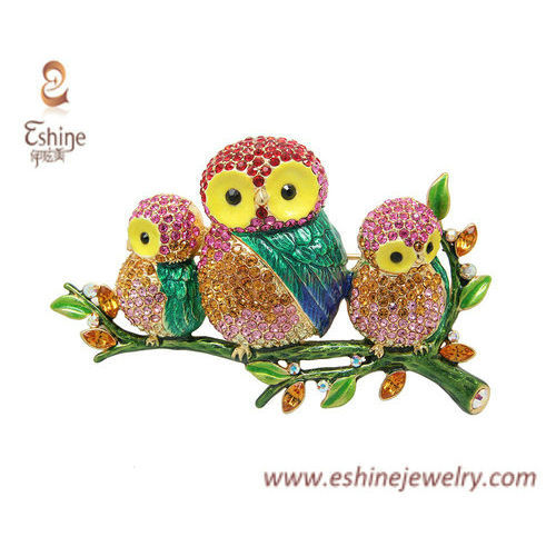 NAB179 - Animal theme brooch owl family pin with multi color