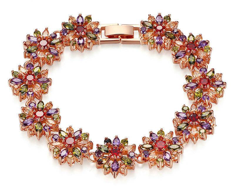 MBCZ199 - Blossom bracelet by muti color CZ stones (round &