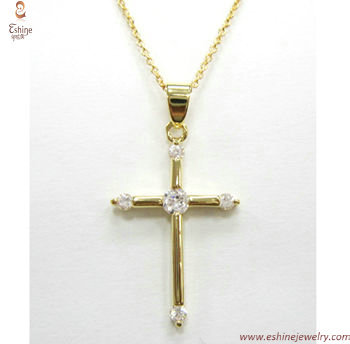 Religious Cross pendant - brass material with hand setting c