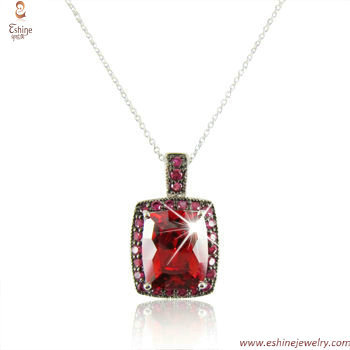 ST1818P - Clow setting Square Gem pendant collection with bl