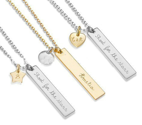 Name bar pendants - custom personalized name bar with 12 col