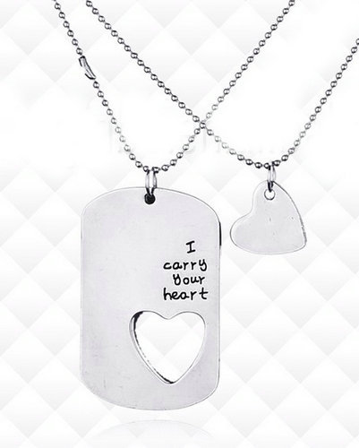 Name dog tags - Personalized names with embedded heart penda