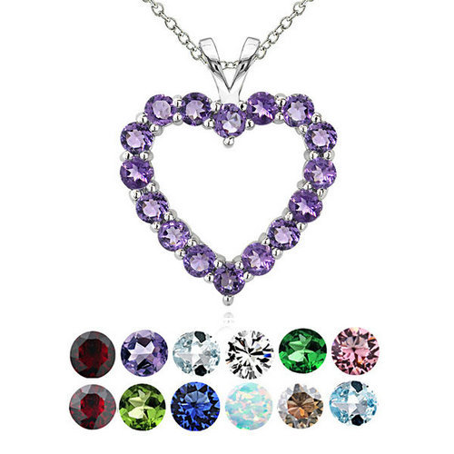 Birthstone heart pendant - sterling silver heart with 12 col