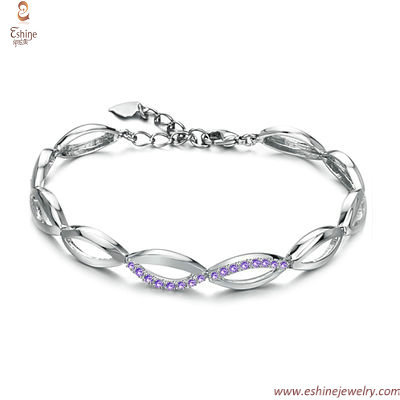 Fancy Links bracelets - Lavender CZ marquise links with real