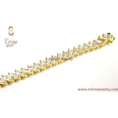 Gold bracelets collection - handsetting clear CZ & black ena