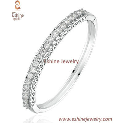 BA1004 - Luxury hollow side White Rhodium Cubic zirconia ban