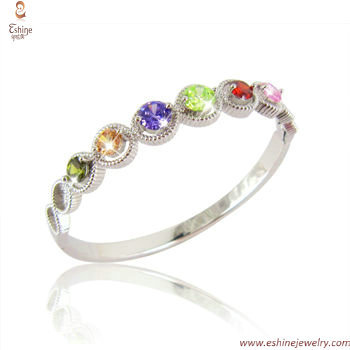 BA1036 - Multi color round CZ links brassbangle with derativ