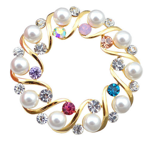 NFR056 - Sterling silver jewelry gifts trendy wreath brooch